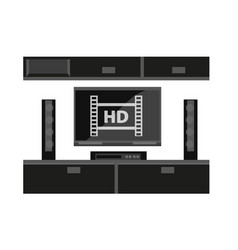 Black furniture for tv set isolated on white vector