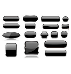 black glass buttons collection of 3d icons vector image