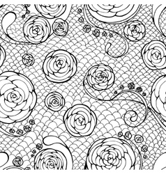 black lace seamless pattern vector image