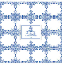 Blue and white vintage ornamental pattern vector