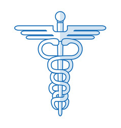 Blue silhouette shading health symbol with serpent vector