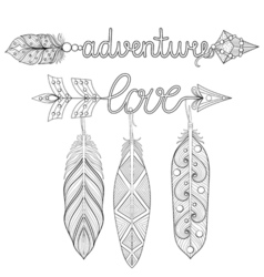 Bohemian adventure love Arrows set with feathers vector