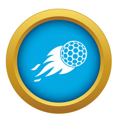 Burning golf ball icon blue isolated vector