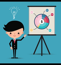 Business man characters presentation pie graph vector image