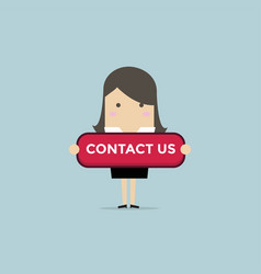 businesswoman with contact us button vector image