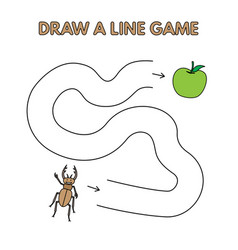 cartoon beetle draw a line game for kids vector image