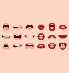 cartoon cute mouth hand drawn comic mouths vector image