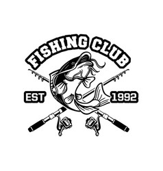 catfish jump in black and white for logo or badge vector image