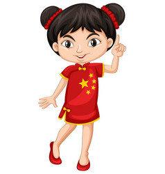 Chinese girl in traditional costume vector