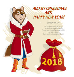 christmas card with dog 04 vector image