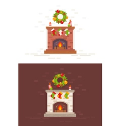 Christmas fireplace isolated in flat style vector image