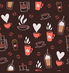 coffee time cafe hot drinks dessert expresso and vector image