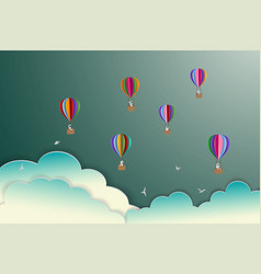 Colorful hot air balloons floating on the sky vector