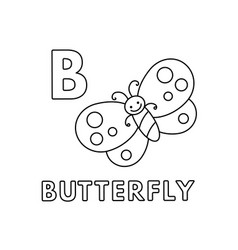 cute cartoon animals alphabet butterfly vector image