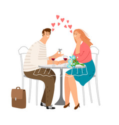 cute couple in love in cafe love dating vector image