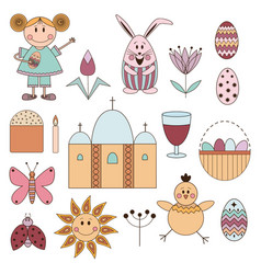 Cute elements for easter holiday vector