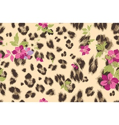 Cute flower seamless mix leopard pattern vector