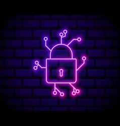 cyber security icon with padlock icon data vector image