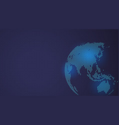 dark blue background digital dotted globe vector image