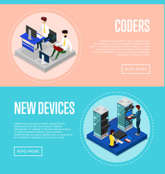 Data centre upgrading service isometric posters vector