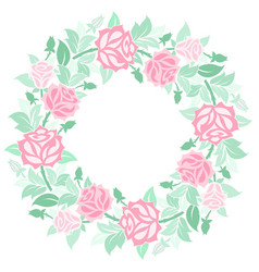 decorative floral wreath with roses vector image