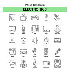 Electronics line icon set - 25 dashed outline vector