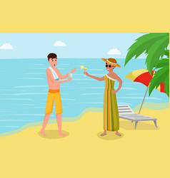 Enjoying drinks on seashore vector