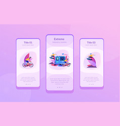 Extreme tourism app interface template vector