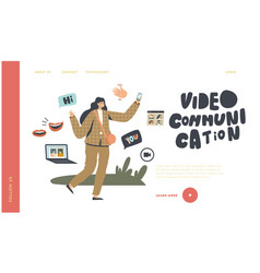 female character use video communication vector image