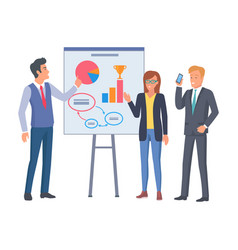 female in glasses and two men on business coaching vector image