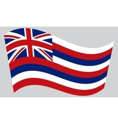 Flag of Hawaii waving on gray background vector