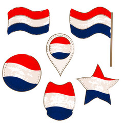 flag of netherlands performed in defferent shapes vector image