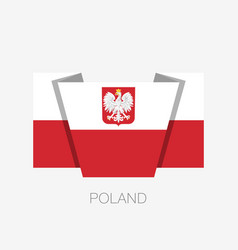 Flag of poland with eagle flat icon waving flag vector