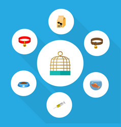 Flat icon animal set of bird prison nutrition box vector