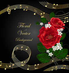 Flowers with music notes vector