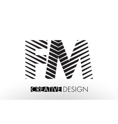 Fm f m lines letter design with creative elegant vector