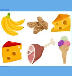 Food objects cartoon set vector