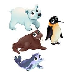 Funny polar animals vector