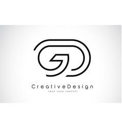 Gd g d letter logo design in black colors vector