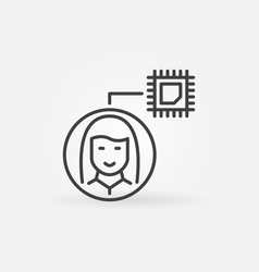 girl or woman with computer chip thin line vector image