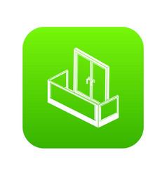 glass balcony icon green vector image