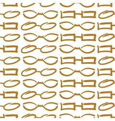 Glasses and Sunglasses Gold Seamless Pattern Sketc vector