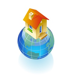 Globe and house concept vector