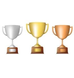 Golden silver bronze trophy set vector image vector image