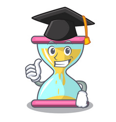 Graduation cartoon hourglass in the dawn time vector