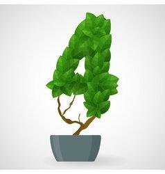 Green foliage houseplant alphabet figures vector