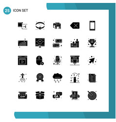 Group 25 solid glyphs signs and symbols for vector