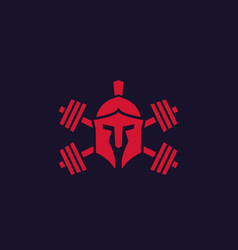 Gym logo with spartan helmet and barbells vector