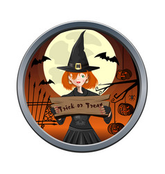 halloween round sticker wit cute young witch vector image