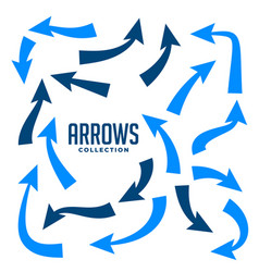 hand drawn arrows collection in blue color vector image